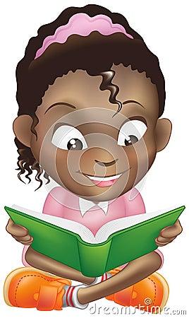 Illustration cute black girl reading book