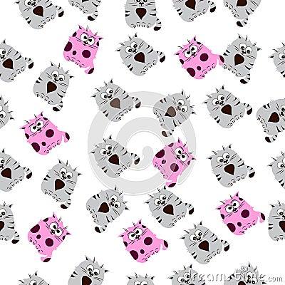 Illustration of a Cute cat Vector Illustration