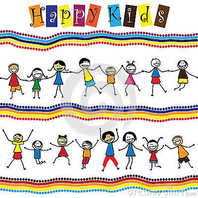 Illustration - cute children(kids)jumping & dancing together