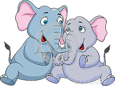 Royalty free stock image cute couple elephant cartoon