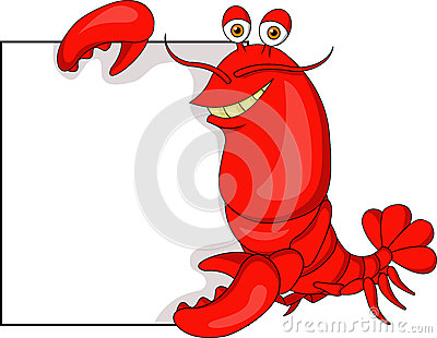 Cute lobster cartoon with blank sign