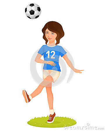 Illustration of a cute young girl playing soccer