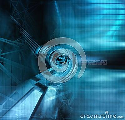 Illustration of a cyborg eye in blue tones