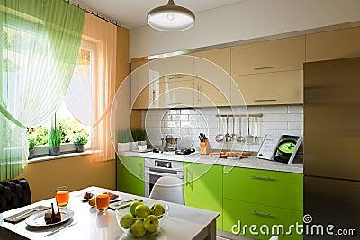 Illustration 3d Der Küche Mit Den Beige Und Grünen Fassaden Stock ... Beige Und Grn