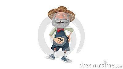 Illustration 3D, die der ältere Landwirt sich draußen mit einem Lächeln bewegt