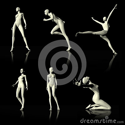 Illustration 3D presenting naked mannequin.