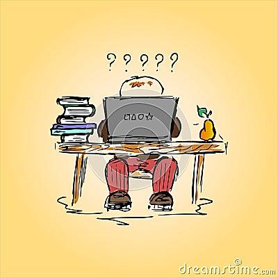 Illustration d 39 un tudiant dans un bureau au travail main dessin illustr - Travailler dans un bureau ...