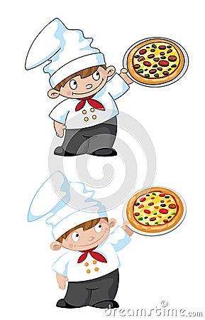 Petit cuisinier avec la pizza