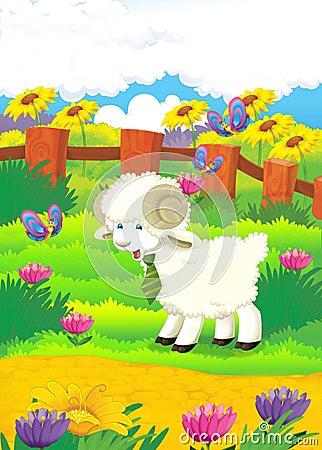Illustration de bande dessinée avec des moutons à la ferme - illu