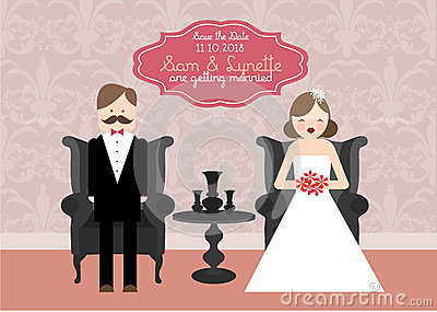 Illustration de calibre de carte d invitation de mariage