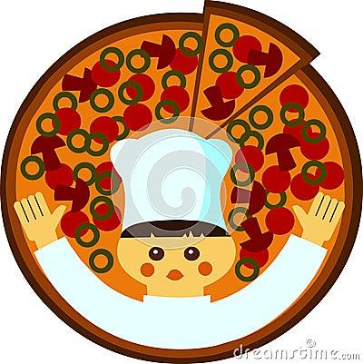 Illustration de dessin anim d un cuisinier avec une pizza for Un cuisinier