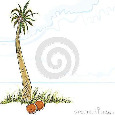 Illustration de palmier en île.