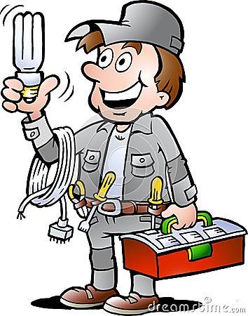 Illustration de vecteur d un bricoleur heureux d électricien