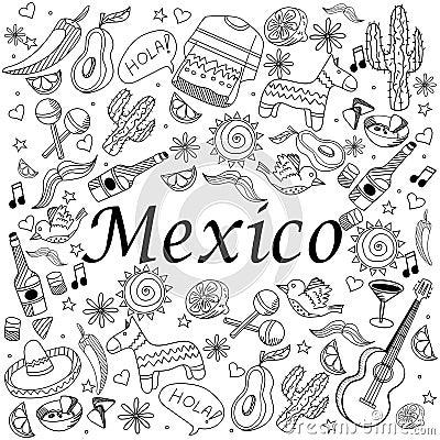 Illustration de vecteur de livre de coloriage du mexique illustration de vecteur image 69889702 - Dessin du mexique ...