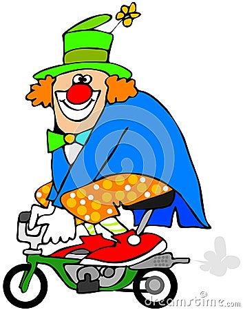 Clown on a mini bike