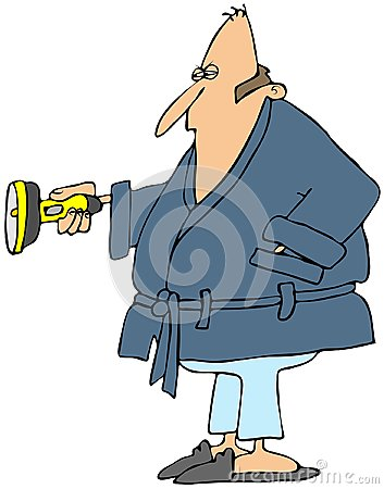 Man in a robe holding a flashlight