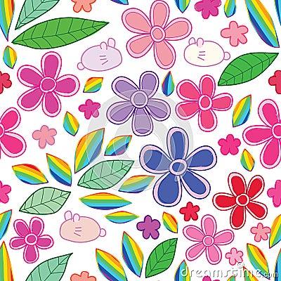 Rabbit flower leaf rainbow seamless pattern Vector Illustration