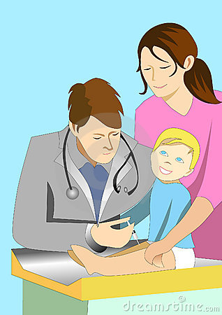 Illustration of doctor giving injection to a baby