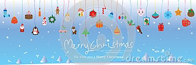 Christmas day color line hang element banner Vector Illustration