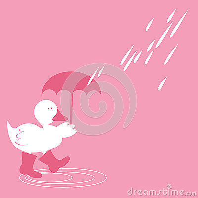 Illustration of duck in rain