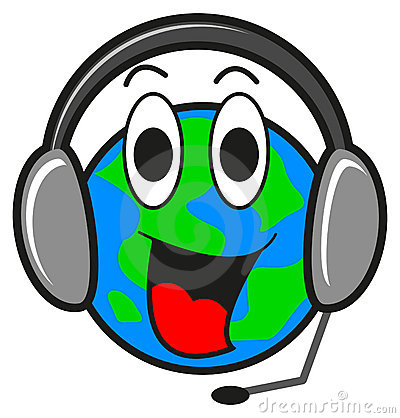 Illustration of earth with ear phone