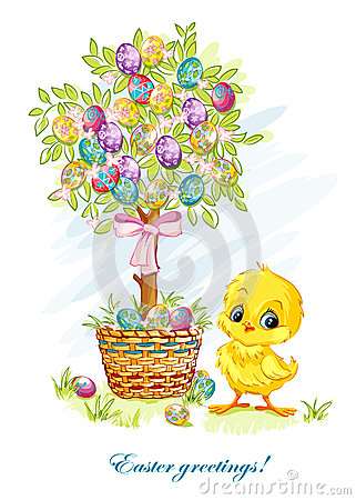 Illustration for Easter day with a young chicken and Easter tree