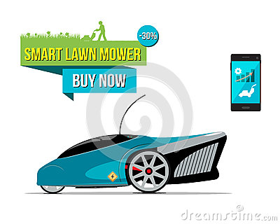 Illustration with electric smart lawnmower. Vector Illustration