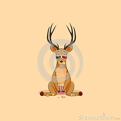 Free Illustration Emoji Character Cartoon Deer Chewing Popcorn, Watching Movie 3D Glasses Sticker Emoticon For Site Stock Photography - 83257062