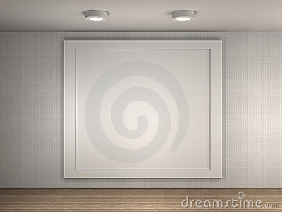 gallery interior with big empty frame stock photography image 34544982