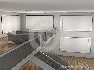 Illustration of a empty museum with 4 frames