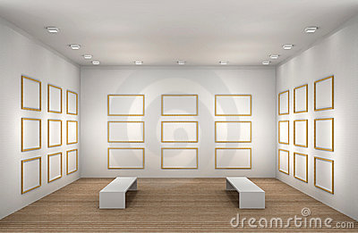 A illustration of a empty museum room with frames