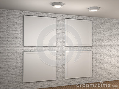 Illustration of a empty museum wall with 4 frames