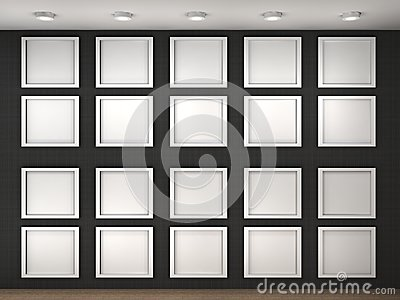 Illustration of a empty museum wall with frames