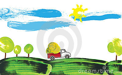 Illustration of a farmer truck working on a farm