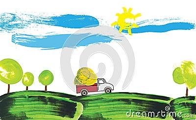 Illustration of a farmer truck working on a farm