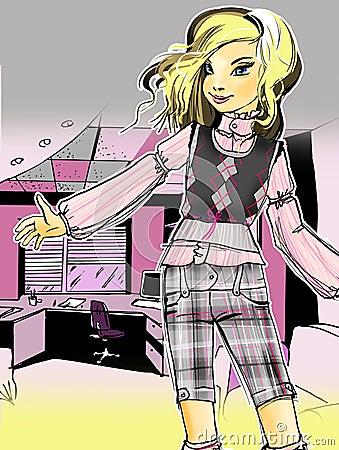 Illustration of fashionable girl