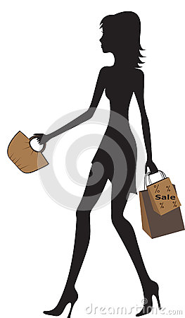 Illustration of fashionable women shopping.