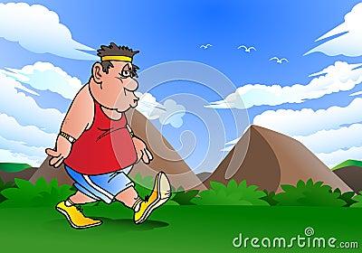 Fat man doing jogging
