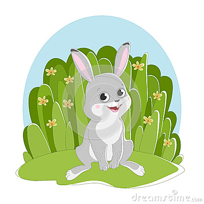 Illustration featuring a hare sitting on the grass background with flowers. Vector Illustration