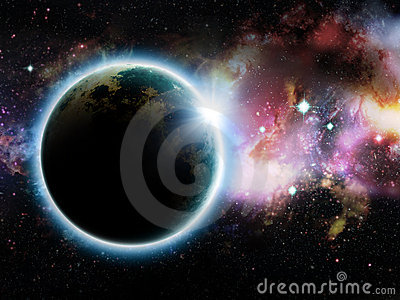 Illustration of fictional planet with rising sun.