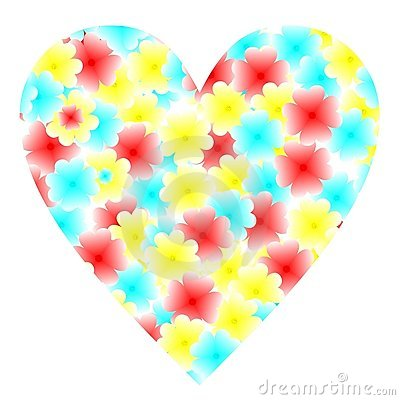 Illustration flowers heart for valentine s day