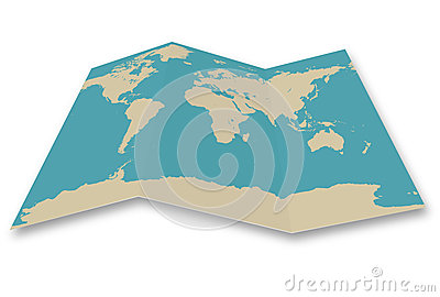 World map folded