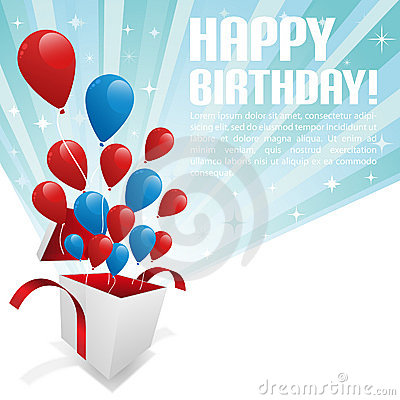 Free Illustration For Happy Birthday Card With Balloons Stock Image - 19972351