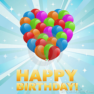 Free Illustration For Happy Birthday Card With Balloons Stock Photography - 21210892