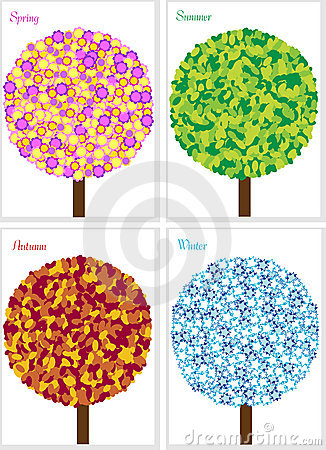 Illustration of four seasons tree isolated on whit