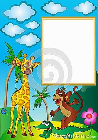 Illustration frame ape shows that crocodile long