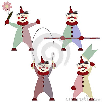 Illustration of funny clowns