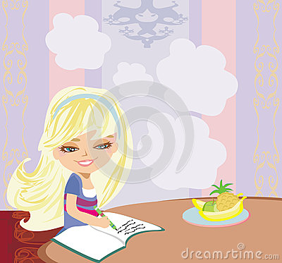 Redhead Girl Does Her Homework With Nanny stock vector art