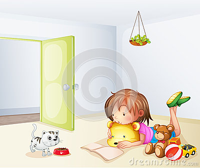 A girl inside a room with a cat and toys