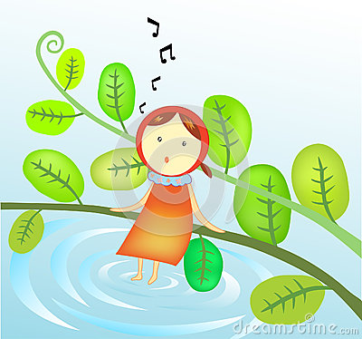 Illustration of a Girl singing